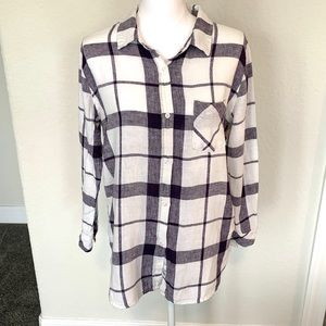 RAILS, linen blend plaid button down shirt, M